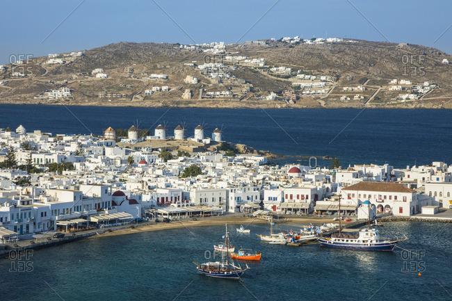 Greece - June 13, 2019: Harbor in Mykonos Town, Mykonos, Cyclade Islands, Greece