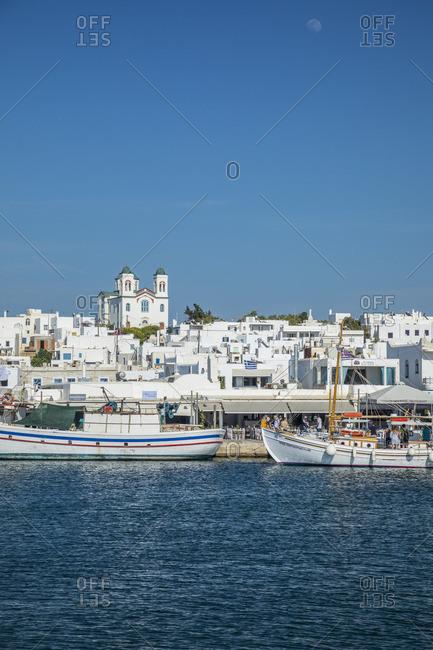 Greece - June 13, 2019: Harbor at Naousa, Paros, Cyclade Islands, Greece