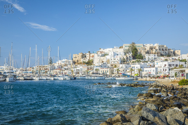 Greece - June 15, 2019: Harbor of Naxos Town, Naxos, Cyclade Islands, Greece