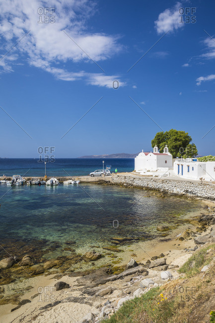 Greece - June 18, 2019: Agios Ioannis, Mykonos, Cyclade Islands, Greece