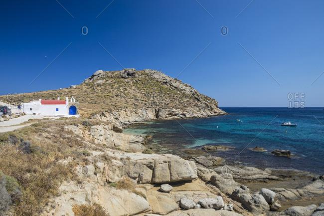 Greek Orthodox chapel, Kalafati Beach, Mykonos, Cyclade Islands, Greece