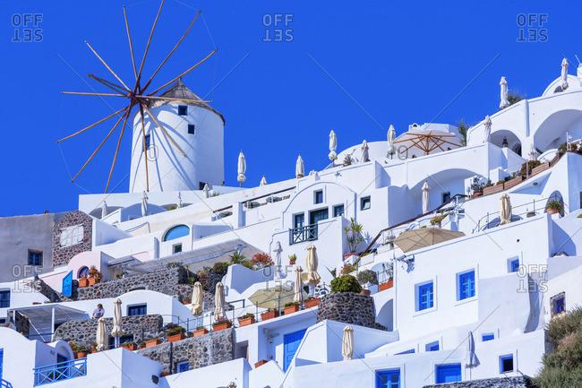 Greece - June 9, 2008: Traditional windmill, Oia, Santorini, Cyclades Islands, Greece