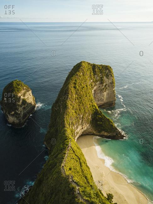 Aerial View of Kelingking Beach, Klungkung, Nusa Penida, Bali, Indonesia