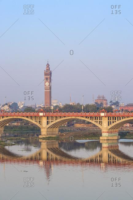 India - February 9, 2019: India, Uttar Pradesh, Lucknow, Bridge over Gomti River