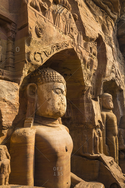 India, Madhya Pradesh, Gwalior, Gopachal Parvat, Jain Images cut into the cliff rock of Gwalior Fort