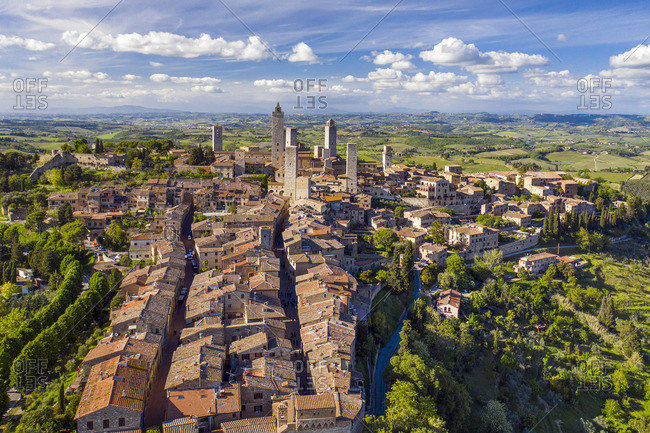 Italy, Tuscany, Val d'Elsa. Aerial view of the medieval village of San Gimignano, a Unesco World Heritage Site