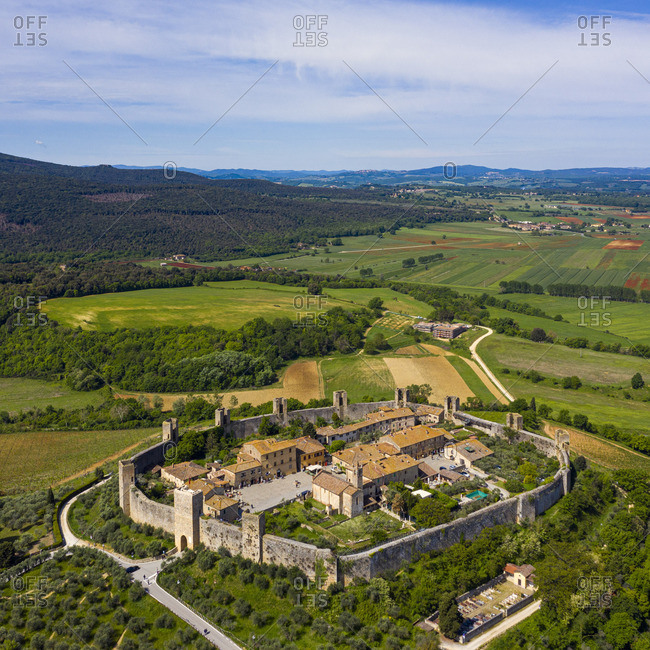 Italy, Tuscany, Val d'Elsa, Monteriggioni. Aerial view of the circular walled fortified historic village