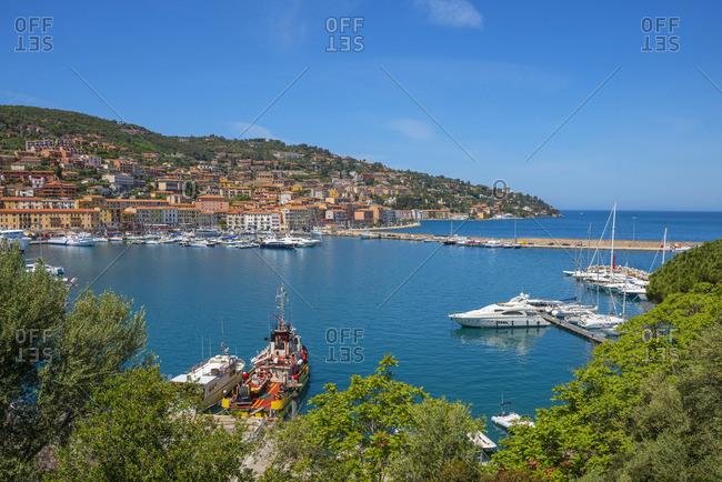 Italy - May 21, 2019: View at Porto Santo Stefano harbor, Maremma, Grosseto, Monte Argentario, Tuscany, Italy