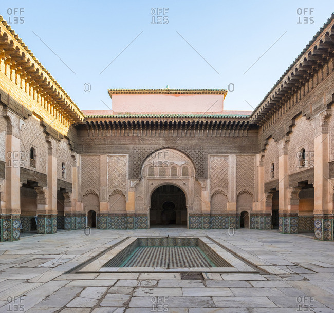Morocco, Marrakech-Safi (Marrakesh-Tensift-El Haouz) region, Marrakesh. Interior courtyard of Ben Youssef Madrasa, 16th century Islamic college.