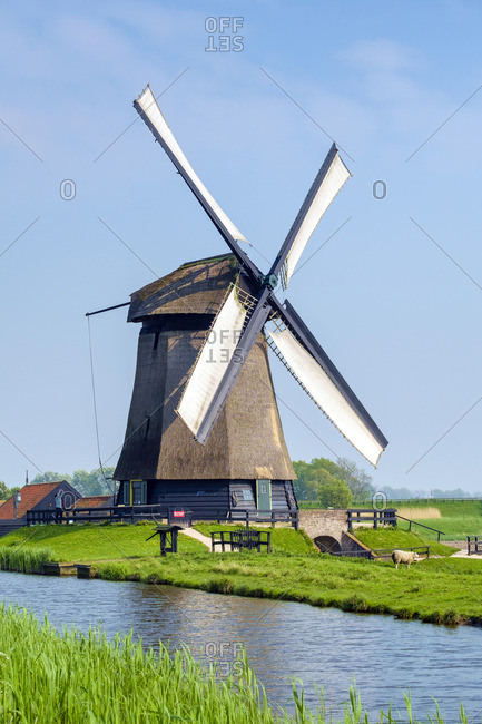 Windmill on polders near village of Schermerhorn, North Holland, Netherlands