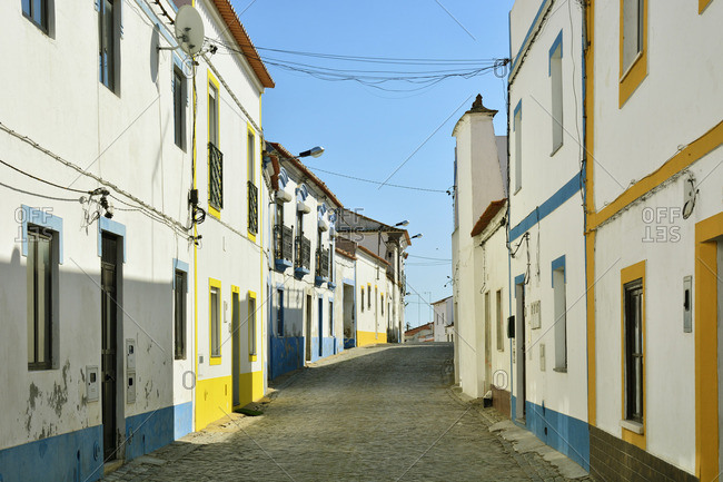 The colorful white washed village of Torrao. Alcacer do Sal, Alentejo. Portugal
