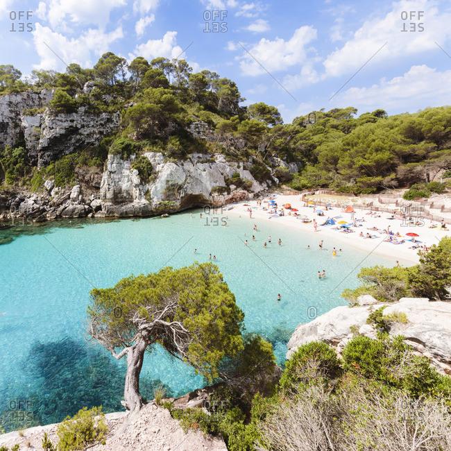 Cala Macarelleta beach in summertime, Menorca, Balearic Islands, Spain