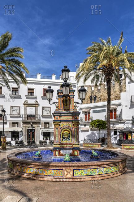 Spain - March 27, 2019: Plaza de Espana, Vejer de la Frontera, Andalusia, Spain