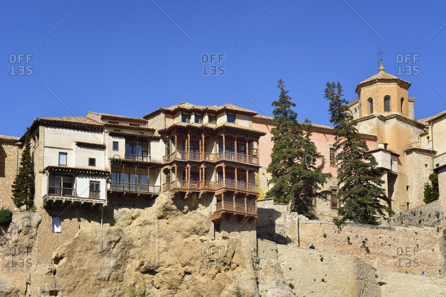 The Hanging Houses (Casas Colgadas) dating back to the 15th century, in the walled town of Cuenca, a Unesco World Heritage Site. Castilla la Mancha, Spain