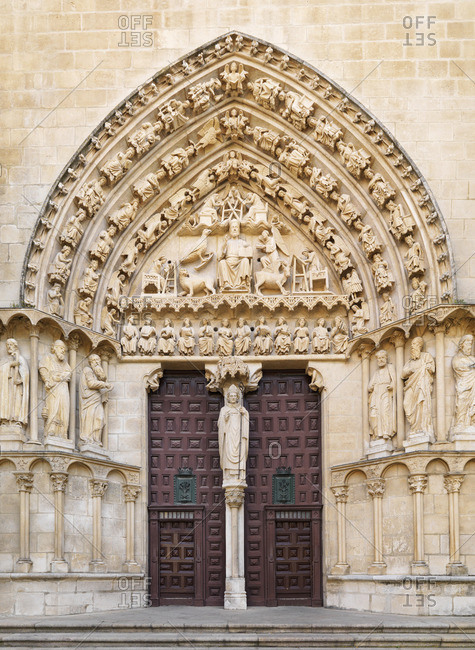Spain, Castile and Doorway of Saint Mary of Burgos cathedral, UNESCO World Heritage site