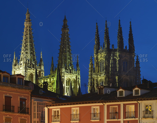 Spain - April 17, 2019: Spain, Castile and Leon, Burgos, Plaza Mayor square and Saint Mary of Burgos cathedral at night, UNESCO World Heritage site