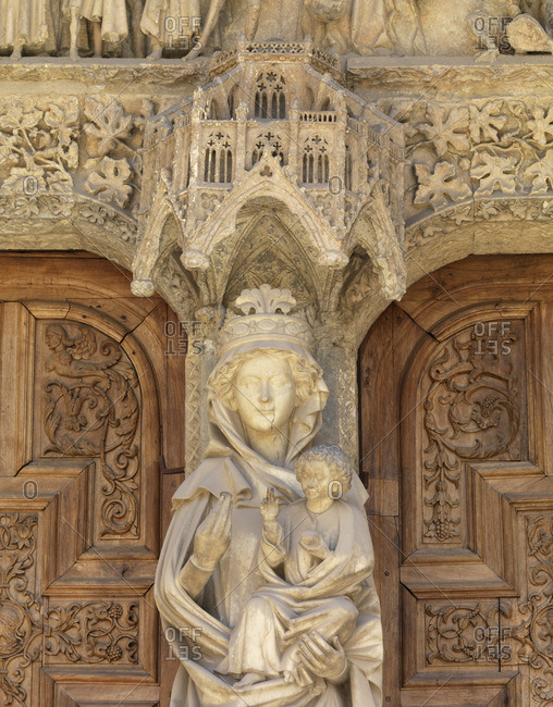 Spain, Castile and Leon, Leon, Santa Maria de Leon Cathedral, detail by entrance