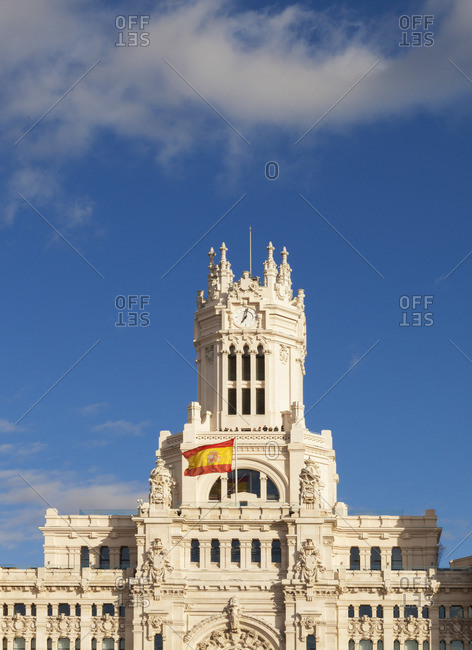Spain, Madrid. Plaza de Cibeles, town hall building
