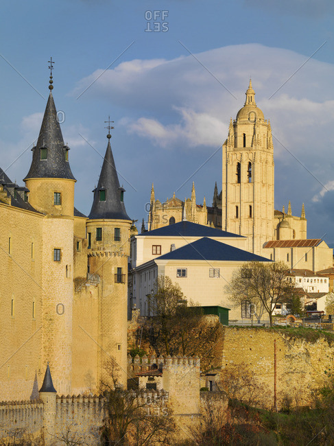 Spain, Castile and Leon, Segovia. The Alcazar and cathedral at sunset