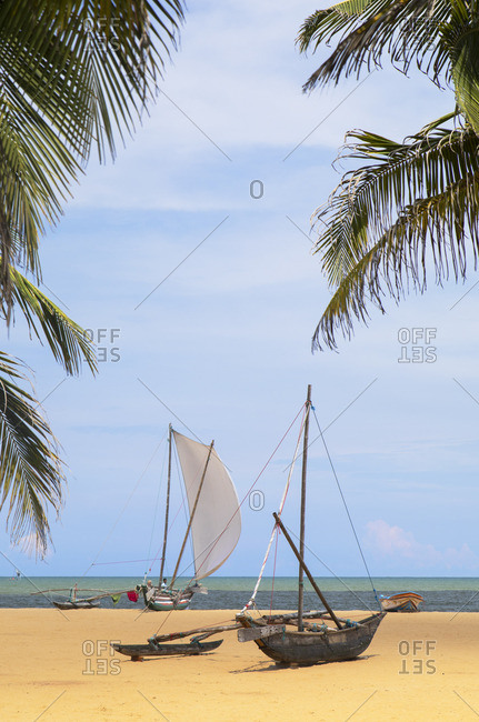Sri Lanka - April 19, 2019: Oruwa (outrigger canoe) on Negombo beach, Western Province, Sri Lanka