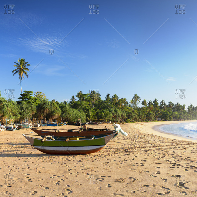 Sri Lanka - April 22, 2019: Talalla beach, Southern Province, Sri Lanka