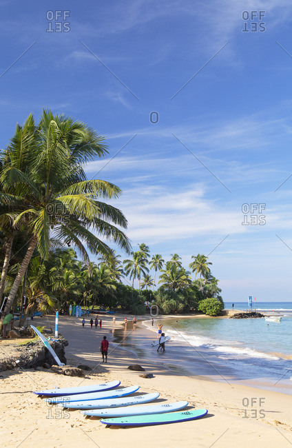 Sri Lanka - April 18, 2019: Hikkaduwa beach, Southern Province, Sri Lanka