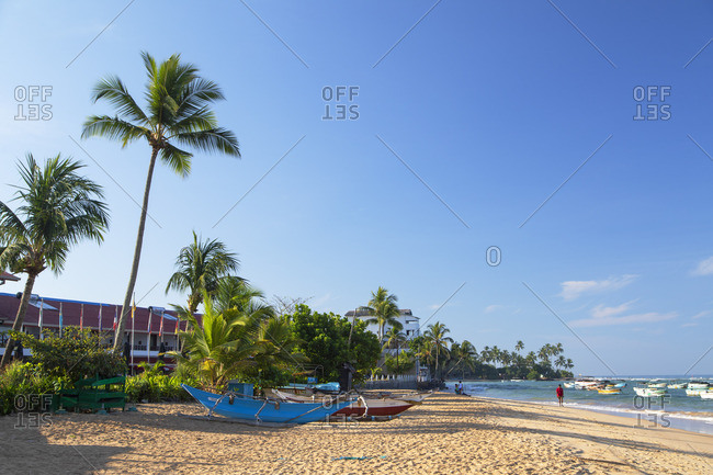 Sri Lanka - April 16, 2019: Hikkaduwa beach, Southern Province, Sri Lanka