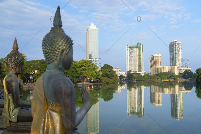Sri Lanka - April 14, 2019: Statues at Seema Malakaya on Bere Lake, Colombo, Sri Lanka