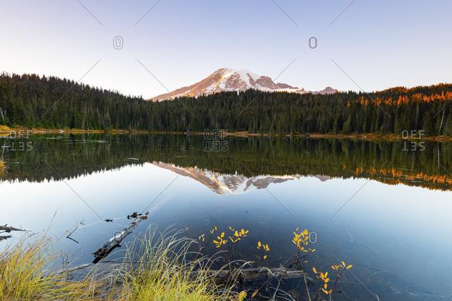 Mount Rainier at Reflections lake, Mount Rainier National Park, Washington, USA