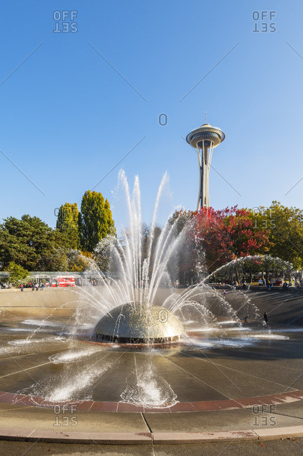 USA - October 20, 2018: Fountain at the Seattle Centre and Space needle, Seattle, Washington, USA