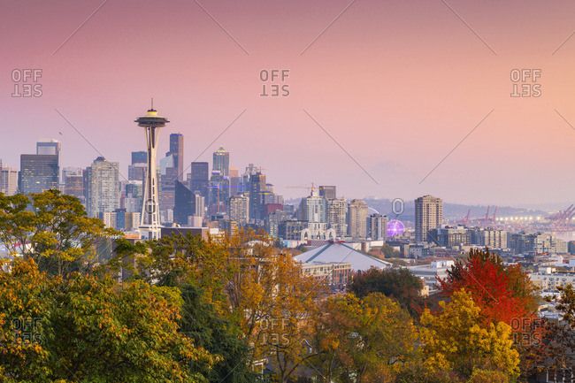 USA - October 21, 2018: View of Seattle from Kerry Park, Seattle Washington, USA