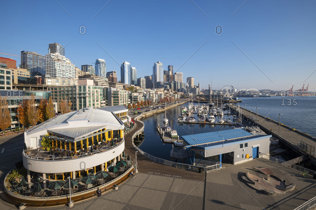 USA - October 21, 2018: Waterfront and downtown from Pier 66, Seattle, Washington, USA
