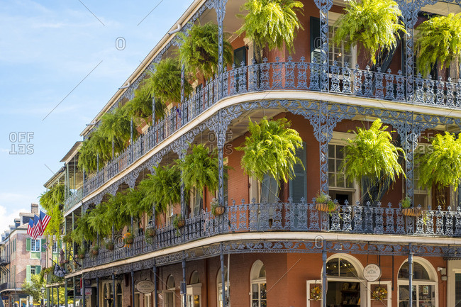 USA - October 13, 2016: United States, Louisiana, New Orleans. French Quarter balconies on Royal Street.
