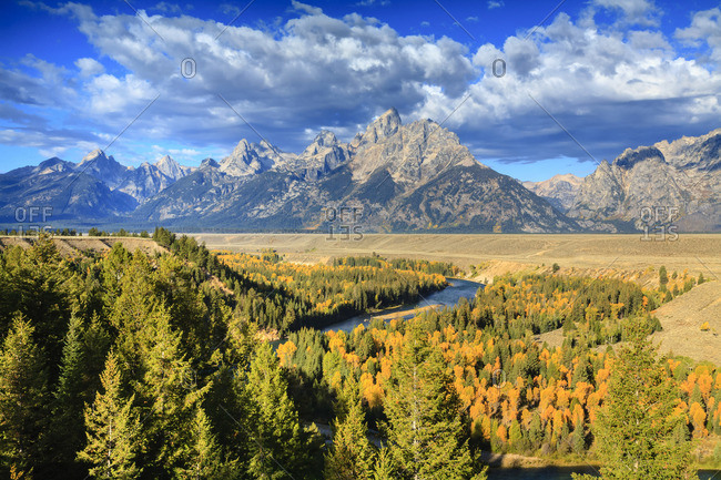 View of Grand Teton Range from Snake River Overlook. Grand Teton National Park, Wyoming, United States.