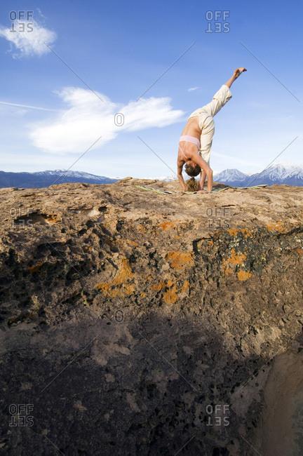 Yoga on volcanic tablelands.