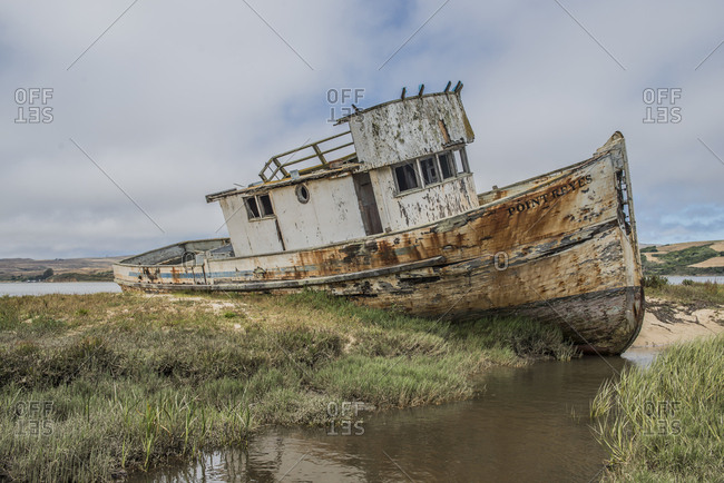 A grounded boat at Point Reys, California.