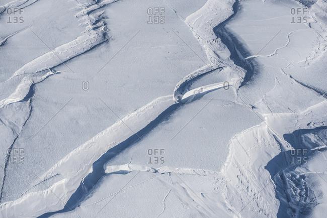 Aerial image of crevasses on the flanks of Mount Erebus, Antarctica.