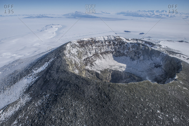 The summit crater of Mount Erebus, Antarctica.