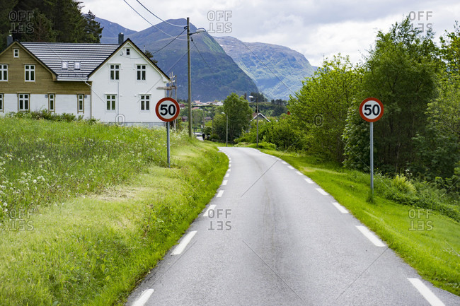 Narrow country road in Selje Norway