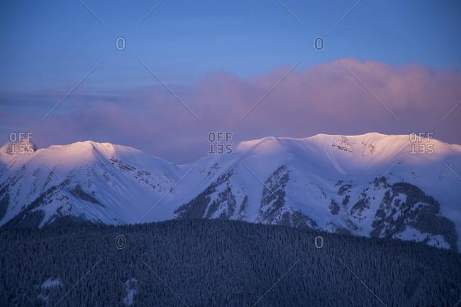 Mountain range and moody dawn, Aspen, Colorado, USA