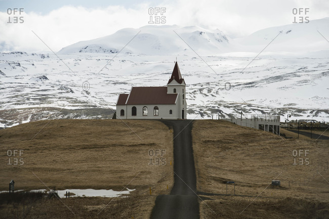 Church on top of hill in Iceland