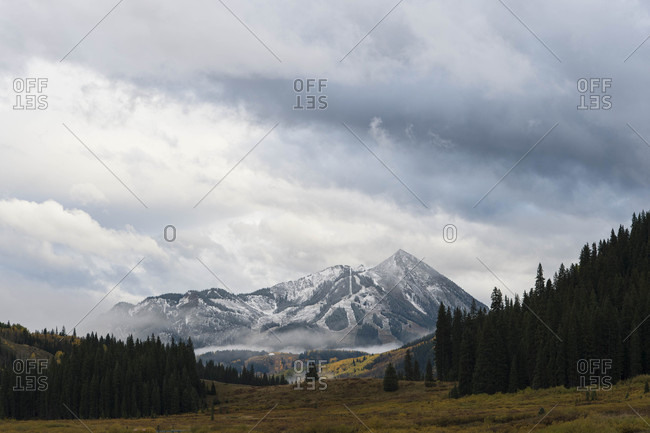 Scenery with mountain peak and forest, Crested Butte, Colorado, USA