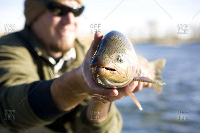 A man proudly displaying a lager rainbow trout.