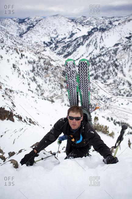A man makes his way up the ridge of Mt. Superior, Utah