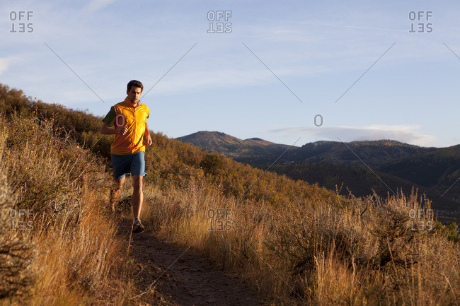 A man out for an early evening run.