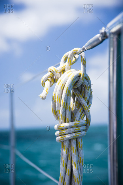 Rope on boat at sailing cruise through Windward Islands of Lesser Antilles of Caribbean