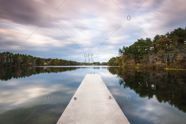 Jetty on lake under overcast sky, Massachusetts, USA