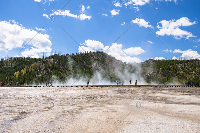 Tourists in Midway Geyser Basin, Yellowstone National Park, Wyoming, USA