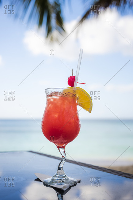 Caribbean tropical rum punch cocktail, Pink Gin Beach, Grenada