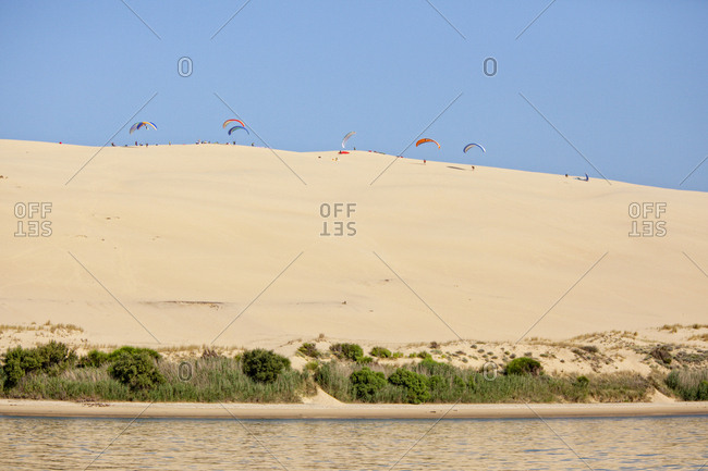 Paragliders taking off from Dune of Pilat, Banc d'Arguin, Arcachon Bay, France